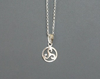 Sterling Silver Celtic Triskelion Necklace, Triskele Necklace, 11mm, Mother's Gift, Daughter Gift, Birthday Gift