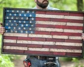 Wooden American flag reclaimed lumber home decor wall hanging, stars and strips sign, unique american flag sign framed flag sign flag mosaic