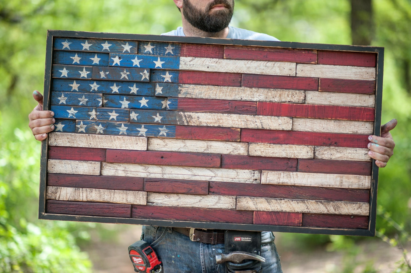 Wooden american flag reclaimed lumber home decor wall hanging American flag wood wall art
