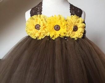 Chocolate Brown Sunflower Flower Girl Lace Tutu Dress, Flower Girl Dress, Sunflower Tutu Dress, Baby Girl, Toddler, Girls