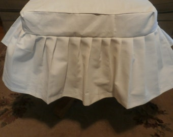 Cotton Muslin White or any color you choose French Chic Foot Stool Cover - Beautiful Shabby Chic Full Ruffles