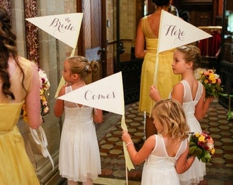 Here // Comes // The Bride | Wedding Sign Package Set of 3 Large Made To Order Wedding Signs Ring Bearers Flower Girls Modern Script 1111 LW