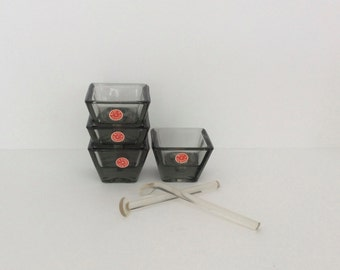 Vintage Mid Century Holmegaard Denmark Set of Four Glass Candleholders in Original Box