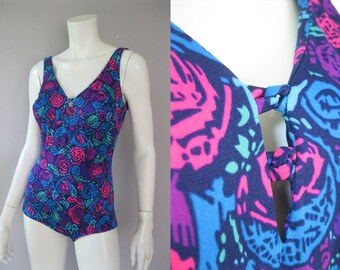 Vintage Swimsuit - 80s One Piece Bathing Suit - Pinup Style  S - M - Maxine of Hollywood