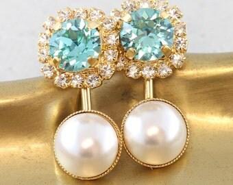 Ear Jacket Earrings,Pearl Crystal Ear Jackets,Swarovski Earrings,Turquoise White Stud Earrings,Gift for her,Bridal Earrings,Pearl Ear jacket