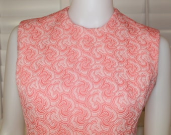 Vintage 60's Mod Salmon Sleeveless Dress  S/M