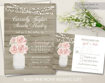 Rustic Mason Jar Wedding Invitations Country Blush Pink Peony Baby's Breath Spring | Summer Wedding Invite RSVP DIY printable template Kit