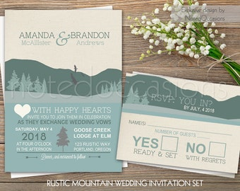 Mountain Wedding Invitation Set - Rustic Wedding Outdoor Glamping Camping Wedding Invitations Country Wedding Digital Printable Templates