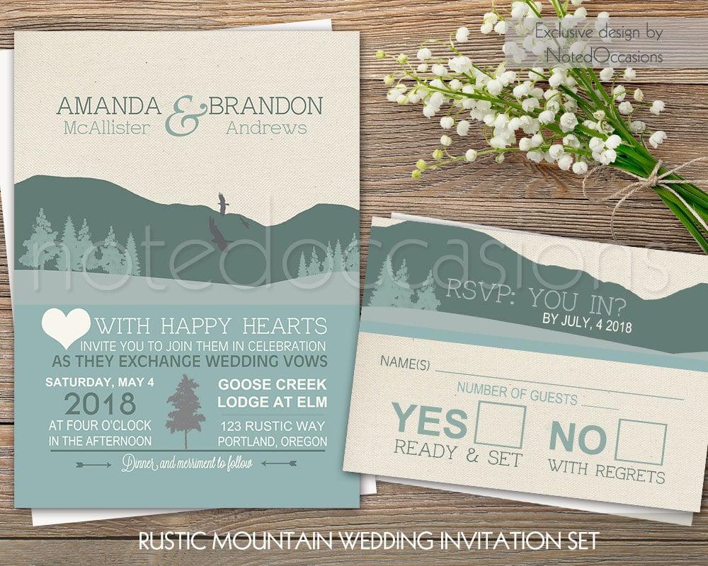 Rustic Wedding Invitation Sets: Mountain Wedding Invitation Set Rustic Wedding Outdoor