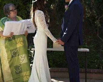 Lace Wedding Gown, Illusion Neckline Wedding Dress, Lace Wedding Dress with Sleeves, Illusion Back Wedding Dress, Sheer Lace Dress
