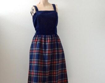 SALE - 1970s Party Dress / wool skirt & velvet top shirtwaist / vintage lanz original