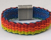 leather woven bracelet reversible blue and orange red