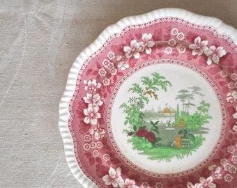 Copeland Spode Dinner Plate Merriemount 1927 Pink Red Transferware Polychrome
