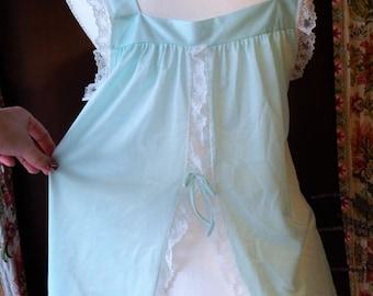 60s Vintage ~Glencraft~ Short Nighty~ Seafoam Light Green Blue~White Lace Nylon Semi Sheer Babydoll