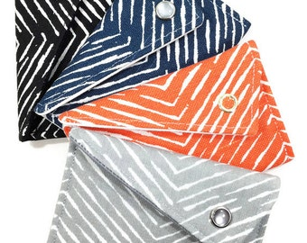 Business Card Holder - You Choose Grey, Orange, Navy, Black Herringbone Chevron Card Case Wallet