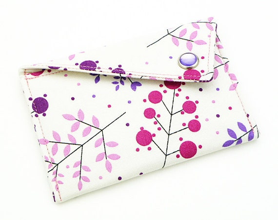 Card Holder - Purple and Pink Trees on White