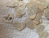 Confetti from a Vintage French Dictionary Over 500 Heart Shaped Punches - Rippy Bits by TangoBrat Ready to Ship