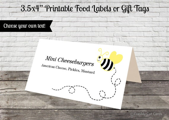 Mom to Bee Printable Food Labels or Treat Tags