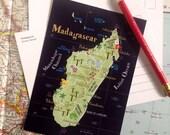 Madagascar Illustrated Island Map Postcard (set of 3)