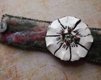 Felt Bead Embroidery Boho Garden Wearable Art Bracelet