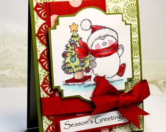 "Handmade Christmas Card - 3D Greeting Card - 4.25 x 5.5"" Seasons Greetings - Penguin Christmas Tree 3D Card Holiday Merry Christmas  OOAK"
