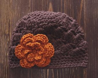 Girls Hat, Brown and Burnt Orange Girl Hat, Newborn Girl Hat, Crochet Baby Hat, Crochet Girls Hat, Baby Girl Hat, Baby Hat for Girls