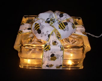 Bumble Bee Glass Block Light