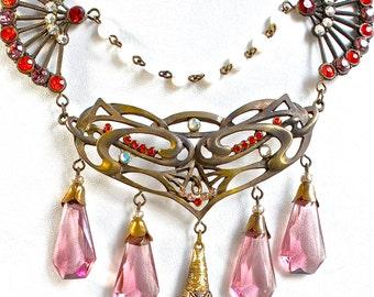Vintage Art Nouveau Czech Glass Necklace