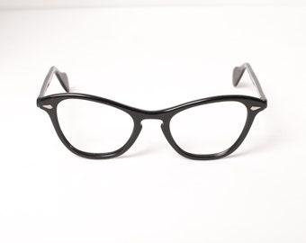 RESERVED // Vintage 50s Glasses FRAMES / 1950s Classic Black CATEYE Eyeglasses