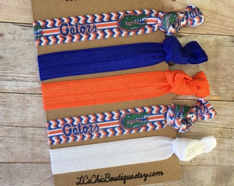 Boutique Hair ties UF Gators Oranage and Blue  5 pack - awesome gift stocking stuffer