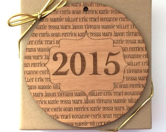 Name Ornament, Personalized Wedding Wood Gift Tag, Custom Laser Engraved, Quote, In Memory Of, Baby Ornament, First Christmas, Wedding