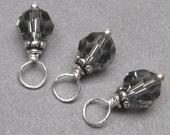 Black Diamond Swarovski Crystals,  Swarovski Crystal  Charms, Crystal Bead Drops, Stitch Markers, Wine Glass Charms, Bracelet Charms,  6mm
