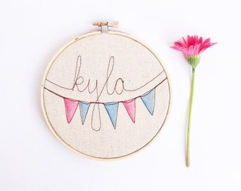 Personalized Nursery, Baby Name Art, Baby Shower Gift, Embroidery Hoop Art, Baby Room Name Decor, Pennant Flags, MADE TO ORDER