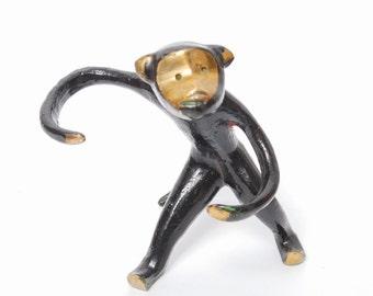 Vintage brass figurine. Brass monkey.