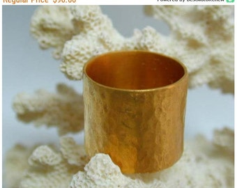 SALE Gold Wide ring ,Hammerd band ,Statment ring ,Band unisex ring ,Texture wide ring ,Cigar band