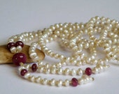 Reserved Long Freshwater Pearl necklace - red Ruby gemstone - beaded necklace - micro pearl - Long gemstone necklace - One of a kind jewelry