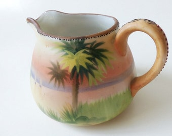 Antique Nippon Creamer ~ Palm Tree Moriage