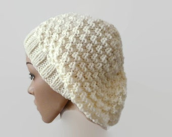 Knit Floppy Hat, Cream Handknit Beanie, Winter Hat, Womens Hat