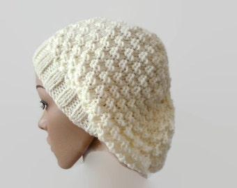 Knit Floppy Hat, Cream Handknit Beanie, Winter Hat, Womens Hat