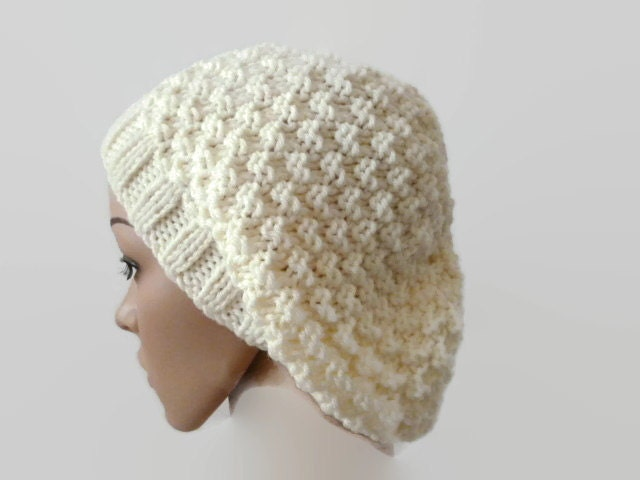 Knit Floppy Hat Cream Handknit Beanie Winter Hat by Maxiesknitwear