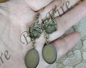 6pcs Charm New style Antiqued bronze Earwires Hook With Oval Cabochon size 13x18mm Pad,flower Beautiful Detail,Earrings hook,earrings base