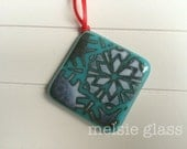 Tropical Snowflake turquoise glass ornament - holiday, turquoise, cream, neutral, holiday decoration