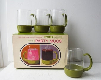 ON SALE SALE 8 Vintage Green Pyrex Ware Party Mugs - New Old Stock 1960's - Serving - Entertaining