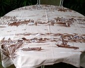 Rare STARTEX Vintage FISHING VILLAGE Tablecloth New England Sailboat