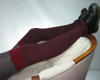 Thick Over the Knee Knit Socks Red / Gray TPattern Print Thigh High Leg Warmers A1798