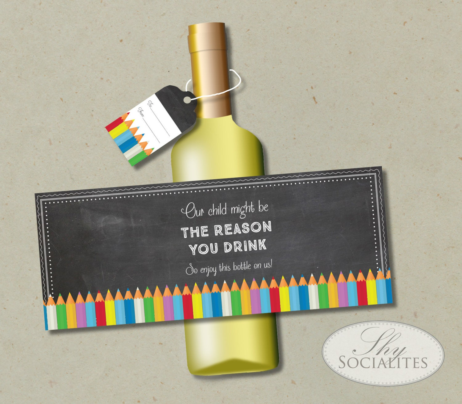 Printable Wine Bottle Labels: Teacher Appreciation Printable Wine Label Our Child Might Be
