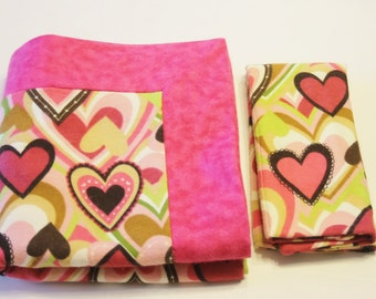 Baby Girl Double Flannel Receiving Blanket in Pink with Hearts - DOUBLE THICK plus FREE burp cloth - Baby Blanket, Baby Girl Blanket