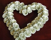 """12 """" heart shaped wreath paper book page spiral flowers recycled  wedding Valentines Day decoration"""