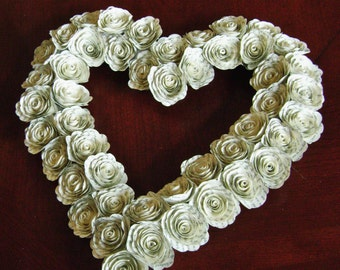 """12 """" heart shaped wreath paper book page or hymnal sheet music spiral flowers recycled wedding decoration Mothers day photo prop"""