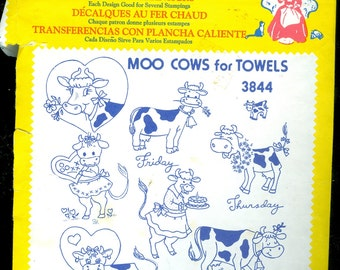 "Aunt Martha's Hot Iron Transfer  ""Moo Cows for Towels"" Embroidery Transfer"